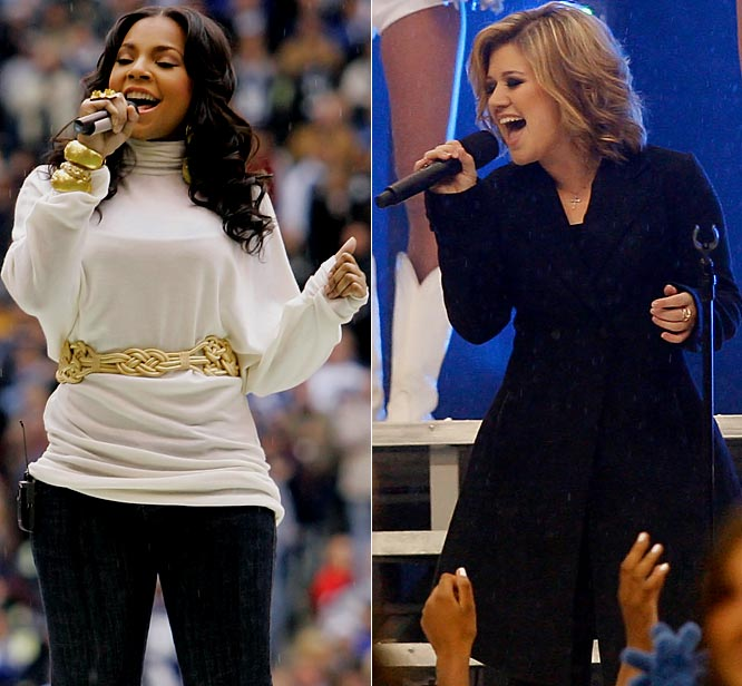 Ashanti sang the National Anthem, and Kelly Clarkson performed during halftime.