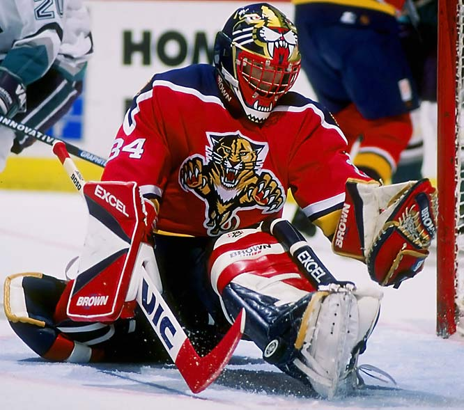 The beloved Beezer grew up in Detroit and starred on Broadway with the Rangers for nine seasons. The three-time All-Star and 1985-86 Vezina-winner also backstopped the upstart Panthers to the 1996 Cup Final and was the second American goalie to reach 300 wins (one month after Tom Barrasso). He finished his 18-year career with 374 and a 2.97 GAA and was a 2007 U.S. Hockey Hall of Fame inductee.
