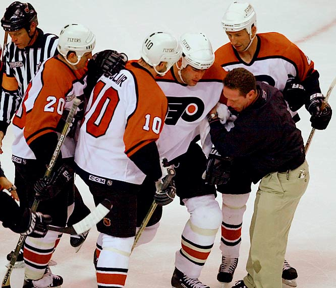Injuries began to take their toll in 1996-97 when Lindros missed the first 23 games with a groin injury. Concussions were his biggest nemesis. Especially vulnerable due to his habit of skating with his head down, Lindros suffered eight of them during his career, including six in a span of two years.