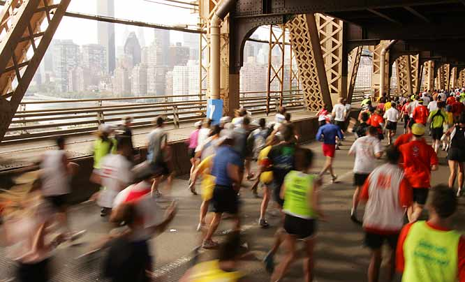 Marathon runners had the sights of New York City before them as they entered Manhattan.