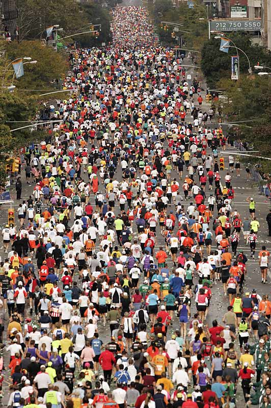 Thousands of marathoners filled the streets on their quest to complete the five-borough challenge.