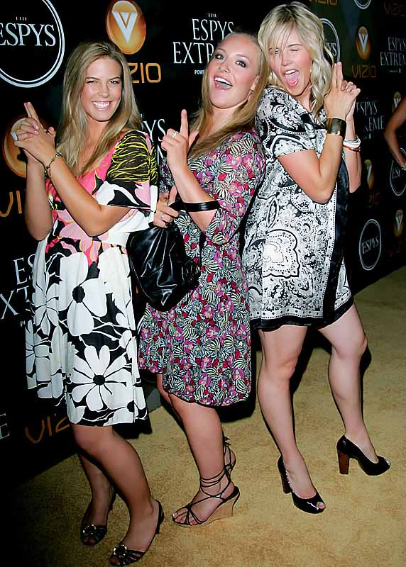 Snow Angels? Snowboarders Sarah Burke, Torah Bright and Jamie Anderson strike a Charlie's Angels pose at an ESPY Award pre-party.