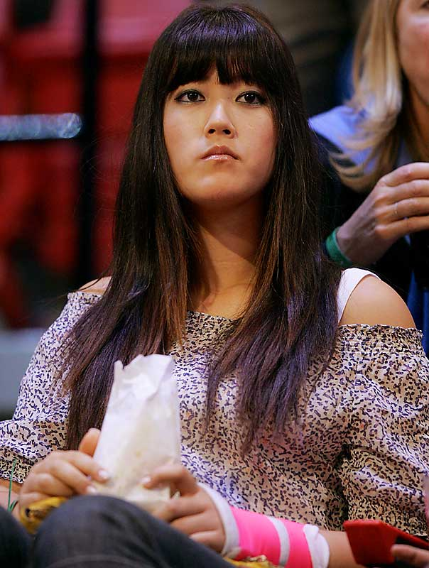 A wrist injury didn't stop golfer Michelle Wie from attending the NBA All-Star game in February.