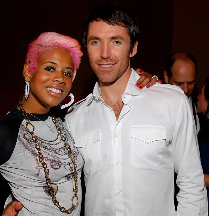 "Phoenix Sun Steve Nash, who's ""MVP game"" was immortalized on Nelly Furtado's hit single Promiscuous, strikes a pose with singer Kelis at February's NBA All-Star Weekend Party."
