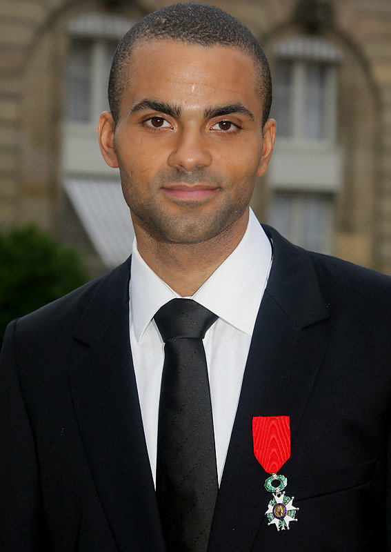 One of France's most famous citizens, San Antonio Spur Tony Parker, smiles after receiving the Legion of Honor Medal in Paris.