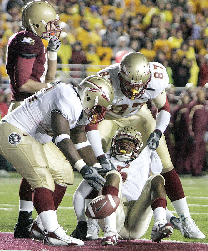 Preston Parker (on ground) opened the game's scoring as the Seminoles made Boston College the fourth second-ranked team to be upset this season.