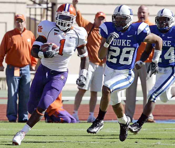 Tigers QB Cullen Harper threw for two touchdowns and ran for another and star RB James Davis (pictured) broke a 70-yard touchdown run, as Clemson rampaged to its seventh win.