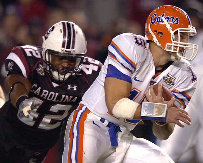 The Gamecocks' defense had trouble all night trying to slow Tim Tebow, who accounted for all seven of Florida's touchdowns.