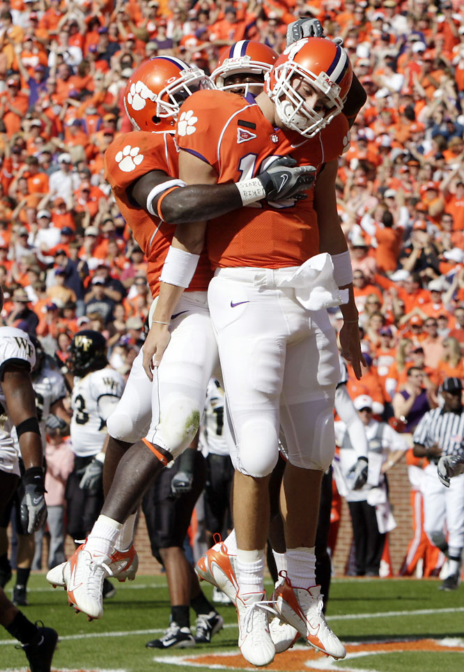 Known for their explosive running game, the Tigers actually lambasted the Demon Deacons through the air. Clemson QB Cullen Harper (right) threw for 266 yards and three touchdowns.