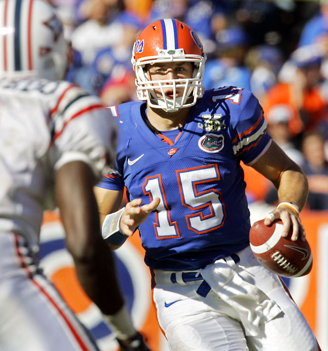The Gators lambasted the Owls, as Heisman Trophy candidate Tim Tebow (pictured) became the first player in NCAA history with at least 20 touchdowns passing and rushing in the same season.