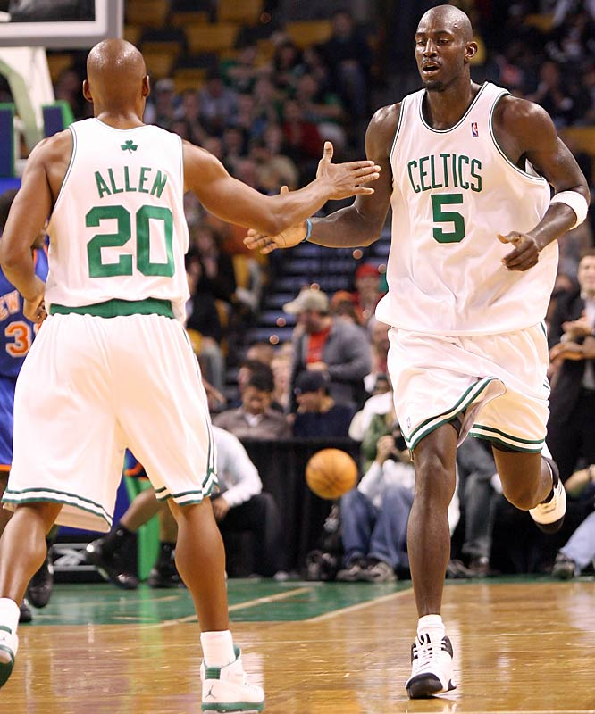 "If the Boston Celtics' pristine record are any indication, this Kevin Garnett fellow and his friend Ray Allen are doing good work for the C's. Forming a latter day ""Big Three"" with Paul Pierce, Garnett is averaging 19 points and 11 rebounds, while the former Jesus Shuttlesworth is chipping in 20 points and averaging 3.6 assists."