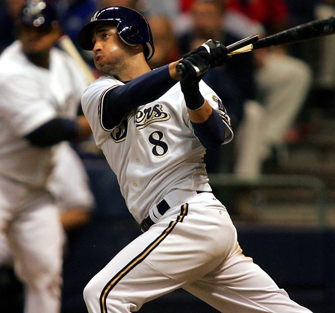 Just imagine if he had played the full season. After his call-up on May 25, Braun hit .324 with 34 homers, 97 RBIs and 91 runs. His .634 slugging percentage led NL players and was the highest by a rookie in major league history. Braun joined Pat Listach as the only Brewers player to win Rookie of the Year.