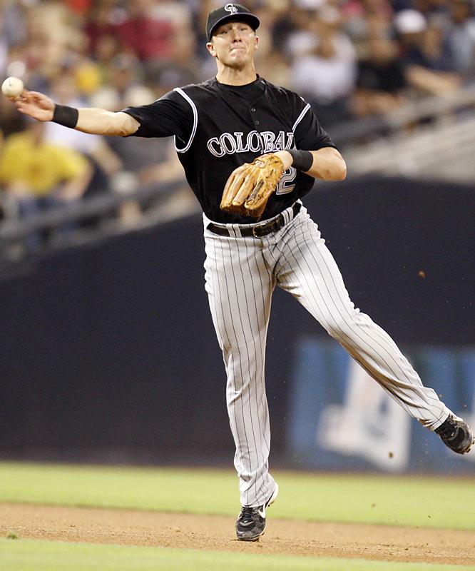 Poised beyond his 23 years, Tulowitski led all shortstops in fielding percentage and set an NL rookie record for home runs by a shortstop (24). He batted .291 with 99 RBIs and helped lead the Rockies to a sizzling finish and World Series appearance.