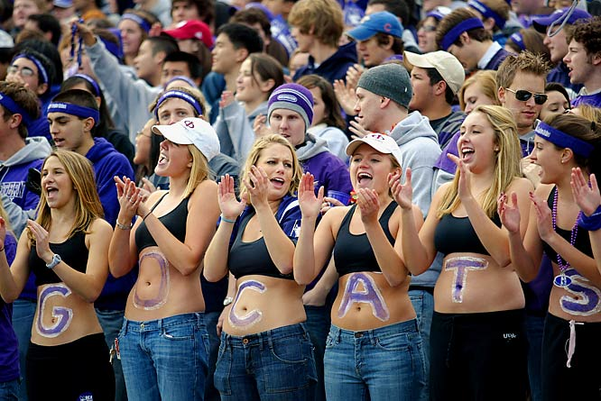 Northwestern fans cheer on their Wildcats during a 31-28 victory over Indiana.