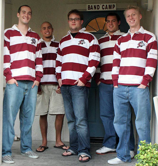 The boys of the Santa Clara University Pep Band (from left to right -- Andrew Willingham, Taylor Thorn, Morgan Breuner, Ben Childs, Aaron Tennis)  stand in front their crib (a.k.a. -- Band Camp).