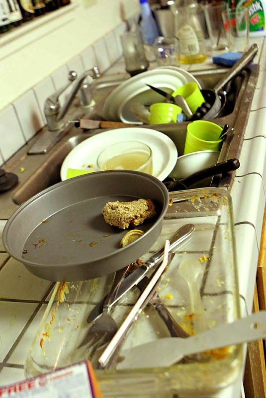 The dishes rarely get cleaned at the Band Camp household.
