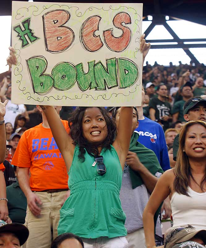 This Hawaii fan is excited to see her Rainbows headed to a BCS game, even if it's not the national championship.