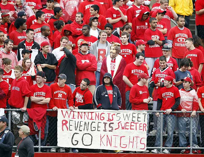 Rutgers fans enjoy the best seat in the house for a game against West Virginia.
