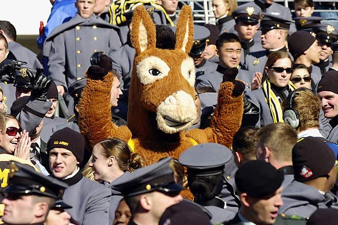 The Army mascot hangs with fans during the Black Knights' 38-3 loss to Navy.