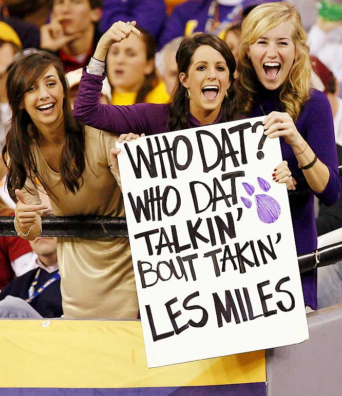 These LSU fans were less than pleased with rumors that coach Les Miles was leaving Baton Rouge for Michigan.