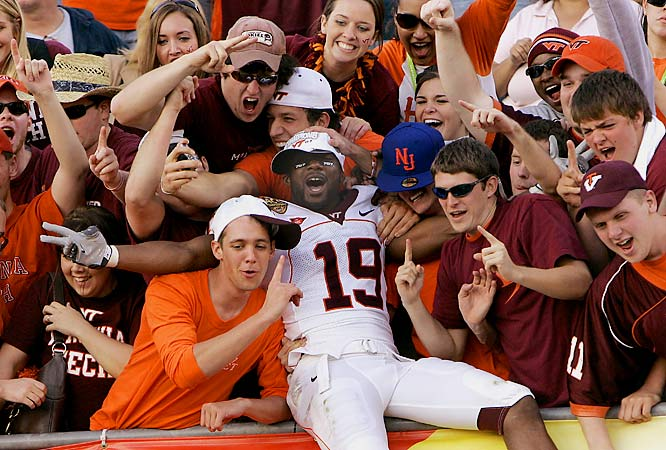 Virginia Tech's Josh Hyman celebrates with fans following the Hokies' 30-16 win over BC at the ACC Championship in Jacksonville.