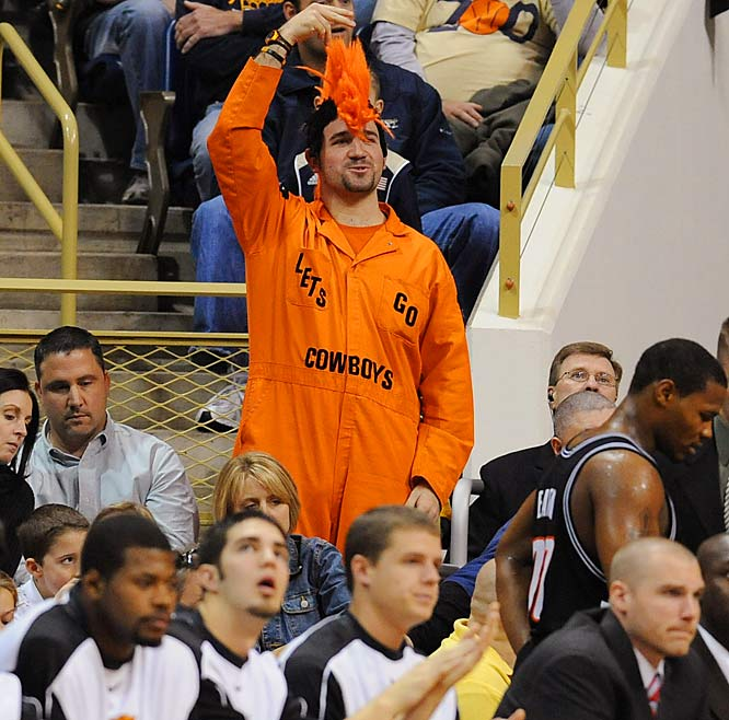 Nothing says Oklahoma State basketball like a big orange mohawk -- just ask this Cowboys fan.