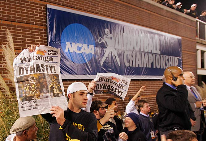 Appalachian State students enjoy the Mountaineers' third straight FCS championship.