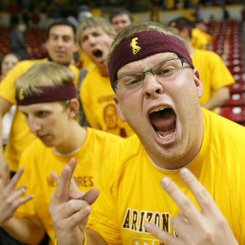 A Sun Devil fan gets his gameface on during the Sun Devils 77-55 victory over Xavier.