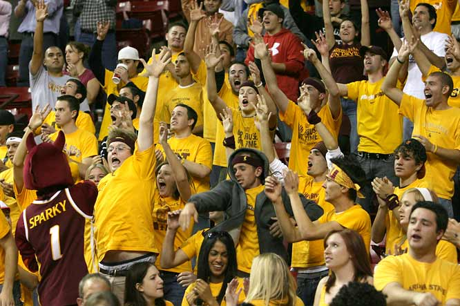 Sparky whips the Arizona State fans into a frenzy during Saturday's matchup with Xavier.