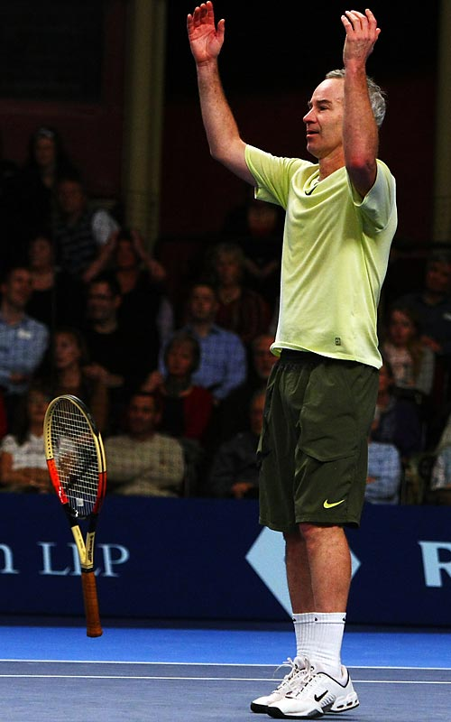 John McEnroe, who played in the BlackRock Masters in London this week, showed that his on-court demeanor hasn't changed.