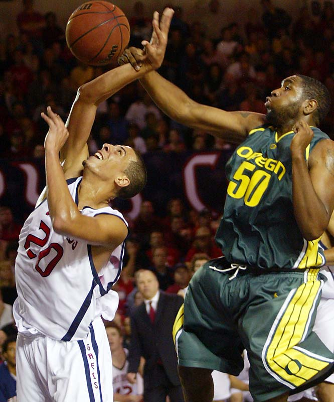 Nov. 20 in Moraga, Calif.<br>99-87<br><br>The Ducks were ranked No. 11 when they rolled into Moraga, where they met an unranked Gaels squad that just might challenge Gonzaga for the West Coast Conference title. Unheralded Australian freshman point guard Patrick Mills scored a school-record 37 points in the win, upstaging Oregon's vaunted backcourt duo of Tajaun Porter and Bryce Taylor.