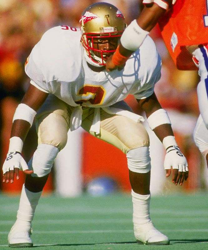 The Neon legend was born in Tallahassee, where Sanders was a two-time consensus All-America, and a Jim Thorpe Award winner in 1988. He intercepted 14 passes, including three in bowl games. His jersey was retired by the school in 1995.<br><br>Runner-up: <br>Charles Woodson, DB, Michigan (1995-98)<br><br>Send comments to siwriters@simail.com