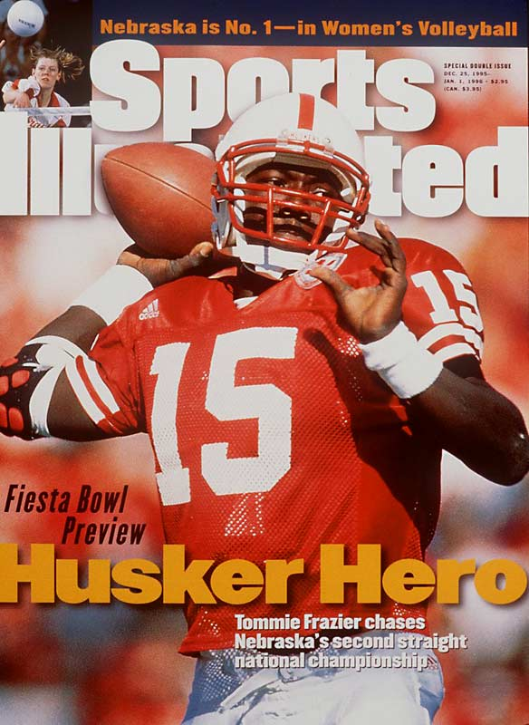 On the short list of college football's greatest quarterbacks, Frazier led the Huskers to back-to-back national titles in 1994 and '95 and was 33-3 as a starter. In the 1996 Fiesta Bowl against Florida, Frazier ran for 199 yards and two touchdowns and passed for 105 yards and a touchdown in a 62-24 win.<br><br>Runner-up: <br>Jimmy Harris, QB, Oklahoma (1954-56)