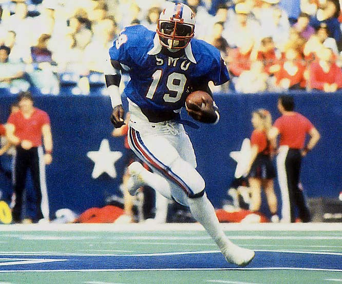 He scored 19 touchdowns in 1981 and 48 for his career, despite splitting time with ''Pony Express'' mate Craig James. Dickerson helped lead the Mustangs to an 11-0-1 record in 1982 and a No. 2 final AP ranking, its highest final ranking since 1947. He finished his college career with 4,450 yards on 790 carries.<br><br>Runner-up: <br>Rashaan Salaam, TB, Colorado (1992-94)