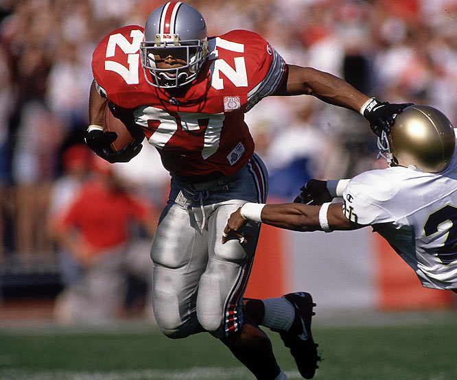 As a senior George rushed for a school-record 1,927 yards and 24 touchdowns, including 314 yards and three touchdowns against Illinois. He won the Heisman Trophy and Maxwell Award in 1995.<br><br>Runner-up: <br>Joe Belino, HB, Navy (1958-60)