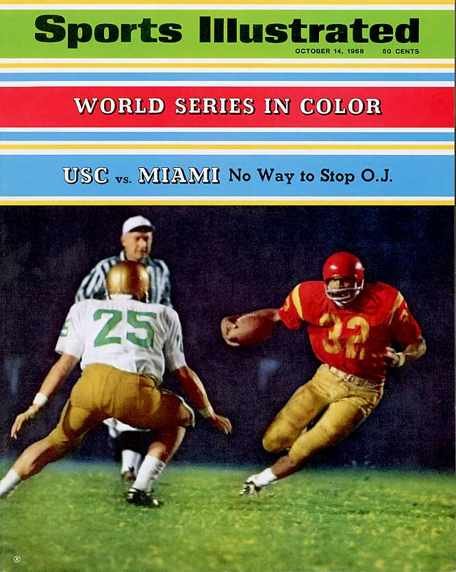 Before the court cases and eternal infamy, Simpson was a once-in-a-generation college running back. In 1967 he led the country in rushing with 1,451 yards on 266 carries and 11 touchdowns. The following year -- en route to winning the Heisman Trophy -- he ran for 1,709 yards and 22 touchdowns while leading USC to a 9-0-1 regular season record. <br><br>Runner-up: <br>Johnny Lujack, Notre Dame (1943, 46-47)