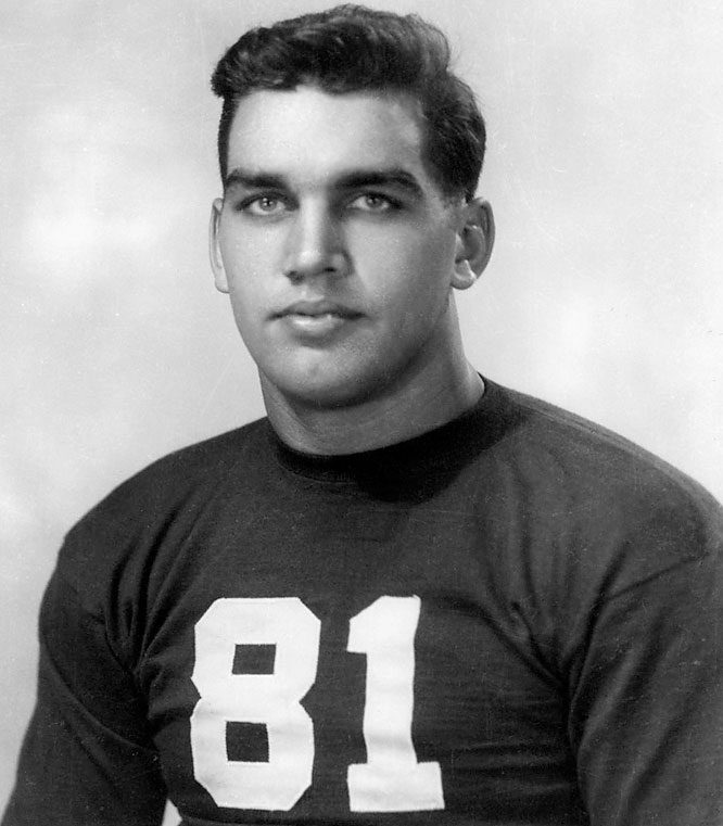Connor started at Holy Cross in 1942 and 1943 and transferred to South Bend after World War II. In 1946 he became the first winner of the Outland. <br><br>Runner-up: <br>Ken MacAfee, WR, Notre Dame (1974-77)