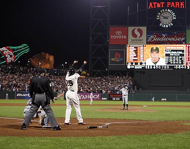 The end of Barry Bonds' agonizing home run watch mercifully came at 8:51 p.m. Pacific time at AT&T Park. Bonds swatted a pitch from Nationals lefthander Mike Bacsik over the outfield wall in right center, 435 feet away.