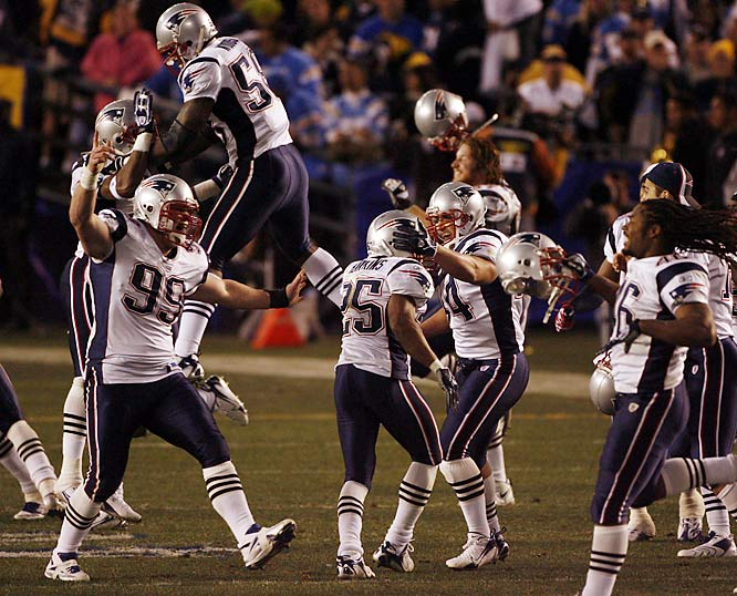 In a career of cool moments, this was one of Tom Brady's coolest. The Pats quarterback shook off three interceptions, his career playoff high, to lead the Patriots to a 24-21 win. Memorably, after the game, Chargers back LaDanian Tomlinson yelled and pointed at some Patriots, upset that some players were dancing on the Chargers logo at midfield.