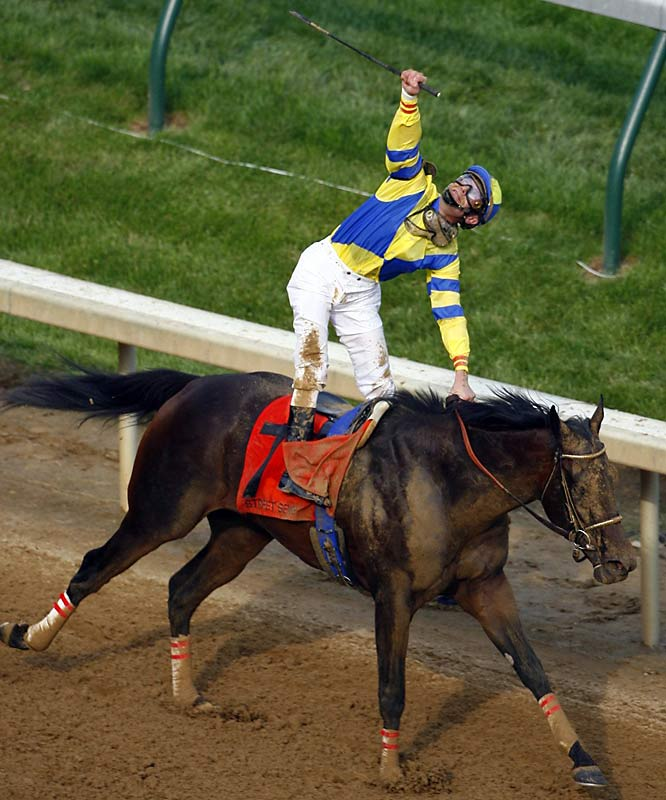 Street Sense, the 9-2 favorite, rallied from 19th place under a fierce ride by jockey Calvin Borel to draw away to a 2 1/4-length victory in the 133rd running of the Kentucky Derby.