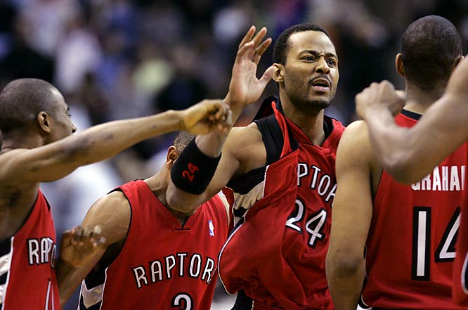 There's nothing like a buzzer-beater but this was extra special: Raptors guard Morris Peterson nailed a 3-pointer from 31 feet to tie the score at 109 as the horn sounded to end regulation. That's when Chris Bosh took over, scoring eight of his 37 in overtime to lift Toronto a 123-118 victory. The craziest part? Peterson played only the final 4.4 seconds of regulation and the last 47 seconds of overtime.