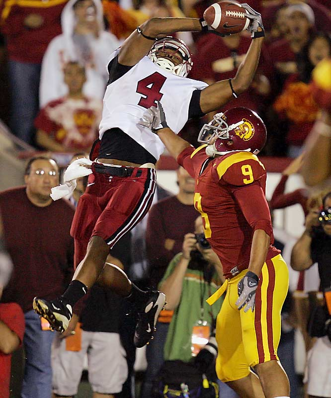 In the year of the upset, this one on Oct. 6 was a doozy. Stanford quarterback Tavita Pritchard threw a 10-yard touchdown pass to Mark Bradford, left, on fourth-and-goal with 49 seconds, giving Stanford a 24-23 victory over No. 2 Southern California. The Cardinal were a 41-point underdog in the game. Yes, we said 41. The win snapped USC's 35-game home win streak and 24-game Pac-10 home win streak.
