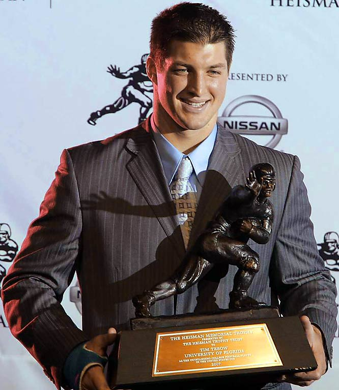 "Florida <i>wunderkind</i> quarterback Tim Tebow pulled off plenty of firsts in 2007: He became the first major college quarterback to reach 20 passing touchdowns and 20 rushing touchdowns in a season. But his most impressive first was becoming the first sophomore to win the Heisman Trophy in the 73-year-history of the trophy. ""There are a lot of great freshmen and sophomores out there,"" Tebow said. ""And I'm just glad that I get to be the first one to win this."""