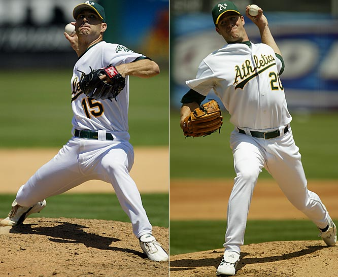 With the Moneyball philosophy as his guide, A's GM Billy Beane shipped off two of his Big Three starters -- Mark Mulder, right, (to the Cardinals) and Tim Hudson, left, (to the Braves) -- within months of one another before the 2005 season. He quickly constructed a new Big Three with Rich Harden, Joe Blanton and Danny Haren, who was acquired in the Mulder trade and started for the AL in the 2007 All-Star Game.