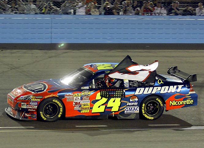 Jeff Gordon's 76th Cup win tied Dale Earnhardt Sr. for sixth on the all-time list. Gordon did a victory lap with a No. 3 flag in tribute to Earnhardt and Dale Earnhardt Jr. offered congratulations.