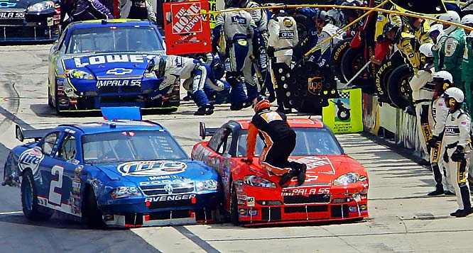 Kurt Busch and Tony Stewart tangled several times during 2007, but got carried away at Dover. After crashing each other during the race, Stewart banged into Busch as they were getting off the track. Then Busch tries to crash into Stewart on pit road, nearly running over a crew member in the process.