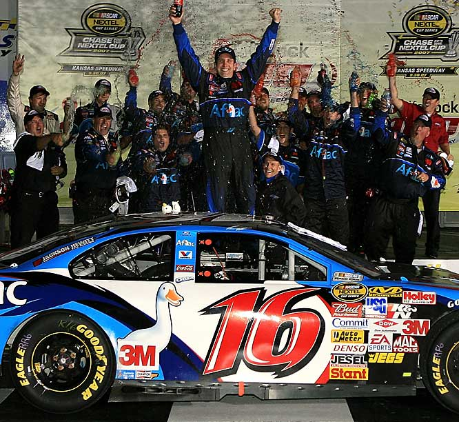 The finish at Kansas Speedway was one of the lamest endings in NASCAR history, thanks to rain delays and impending darkness. NASCAR had already announced that the event was being cut short when a caution came out, effectively ending the race with Greg Biffle leading. Biffle was credited with the win, but not before he ran out of gas and was passed by two drivers before crossing the finish line.