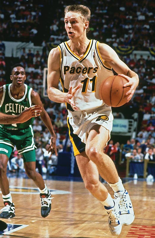 Like McHale and Pierce, Schrempf won the Sixth Man award twice, with Indiana in 1991 and 1992. Back before international players were all the rage, the Leverkusen, Germany-born Schrempf -- who admittedly finished high school and attended college in Washington state -- was taken eighth in the 1985 draft by Dallas. Traded to the Pacers, the 6-foot-10 sharpshooter averaged 16.1 points and 7.9 rebounds in four years there. By 1992-93, he was starting and earning an All-Star berth.