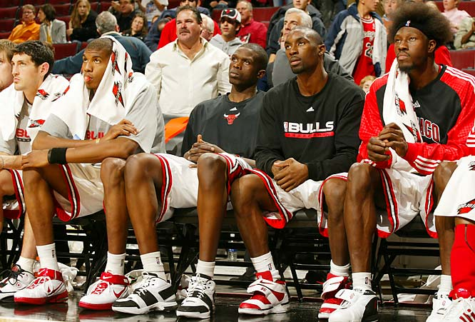 (All statistics through Dec. 4.)<br><br>Chicago's disappointing start has truly been a team effort. The main starting unit of Ben Wallace, Tyrus Thomas, Luol Deng, Ben Gordon and Kirk Hinrich has been dismal offensively, ranking last in the league in scoring and field goal percentage. Hinrich (35.2 percent) and Gordon (39.0) have been hoisting bricks, and Deng (46.0) has not been nearly as sharp as he was a year ago. Meanwhile, Big Ben has seldom chimed in with his usual defensive havoc.