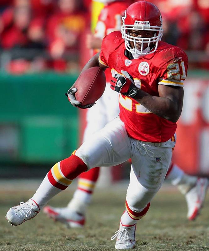 Smith has stepped up since Kansas City running backs Larry Johnson and Priest Holmes went down with injuries. The former Louisville Cardinal rushed for 150 yards in Week 12 and 83 in Week 13.